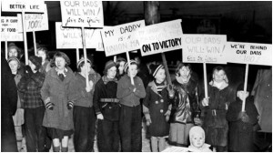 On Women's Day during the Flint Sit-Down Strike, 1937.  http://www.uaw.org/articles/remembering-iconic-flint-sit-down-strike-1937