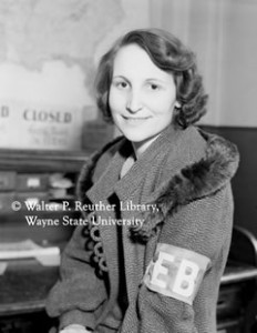 Women's Emergency Brigade organizer Geneora Johnson Dollinger, 1937.  http://theparagraph.com/2006/09/flint-workers-sat-down-and-us-middle-class-rose-up/